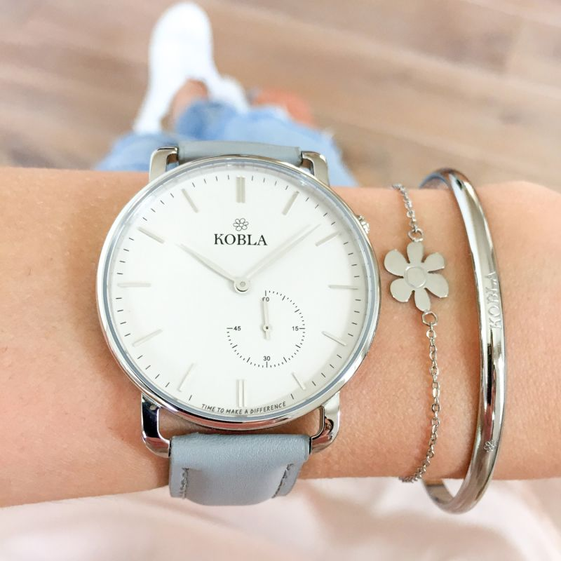KOBLA Silver Case / White Dial / Grey Leather image