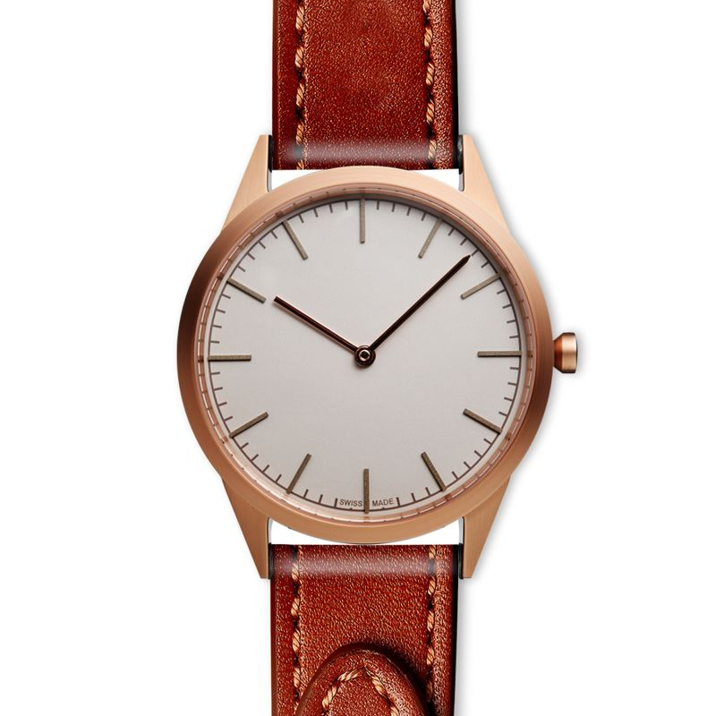 Men's C35 Two-Hand Watch In PVD Rose Gold With Tapered Tan Nappa Leather Strap image