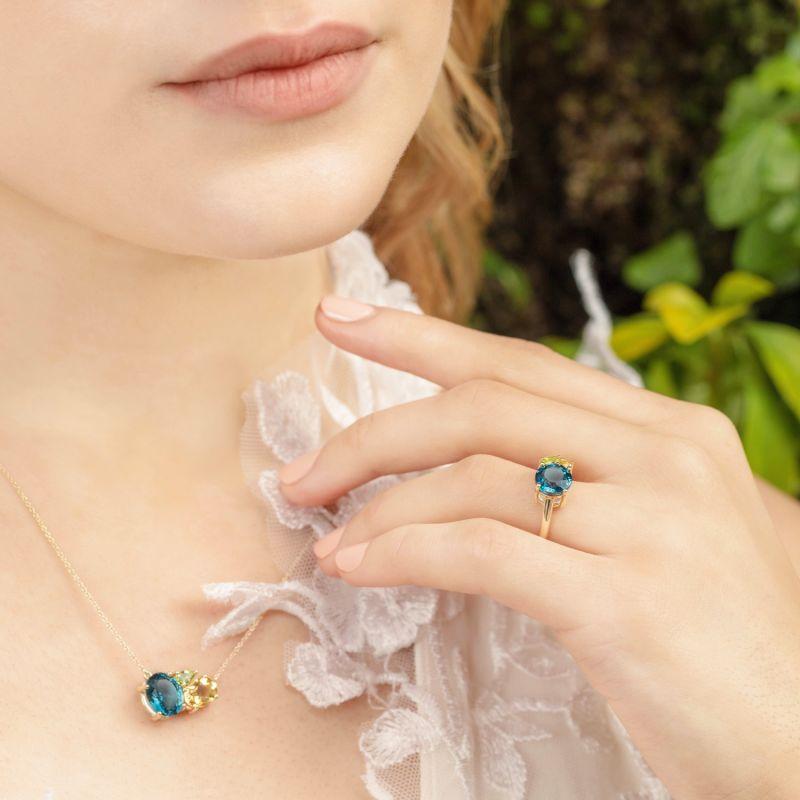 Teal Topaz Cluster Gold Necklace image