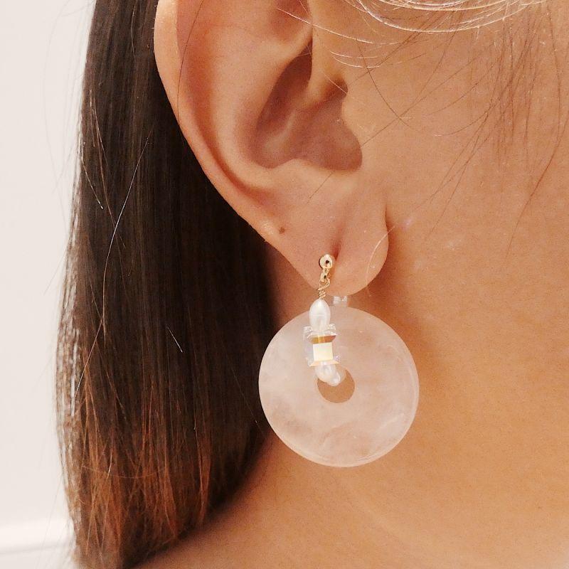 Large Rose Quartz Pearl Hoop Earrings With Swarovski Crystals image