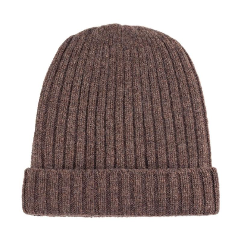 Unisex 100% Lambswool Ribbed Beanie Tobacco image
