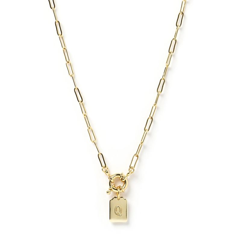 Letter Gold Tag Necklace Q image
