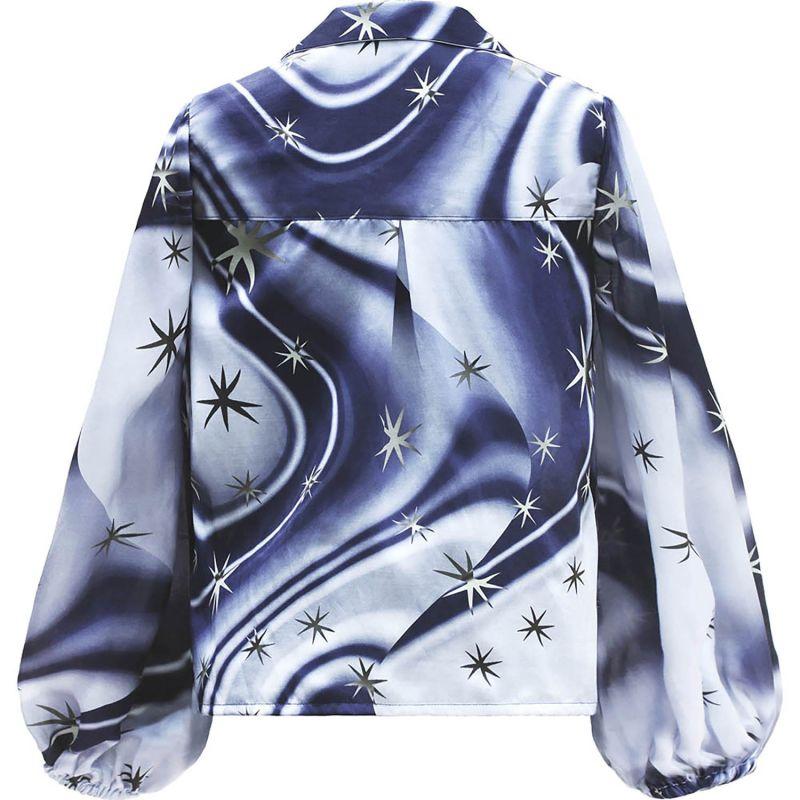 Navy Star Swirl Silk Satin Blouse image
