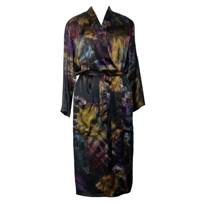 Shibori Silk Satin Kimono - Colourburst Hue 1 image