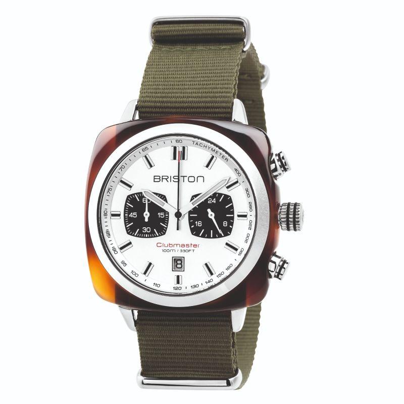 Briston Clubmaster Sport Chronograph Tortoise Shell Acetate, White Dial And Green Army Nato Strap image