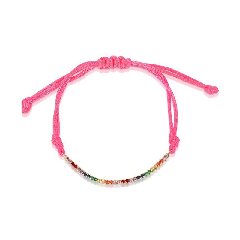 Rainbow Tennis Bracelet Neon Pink image