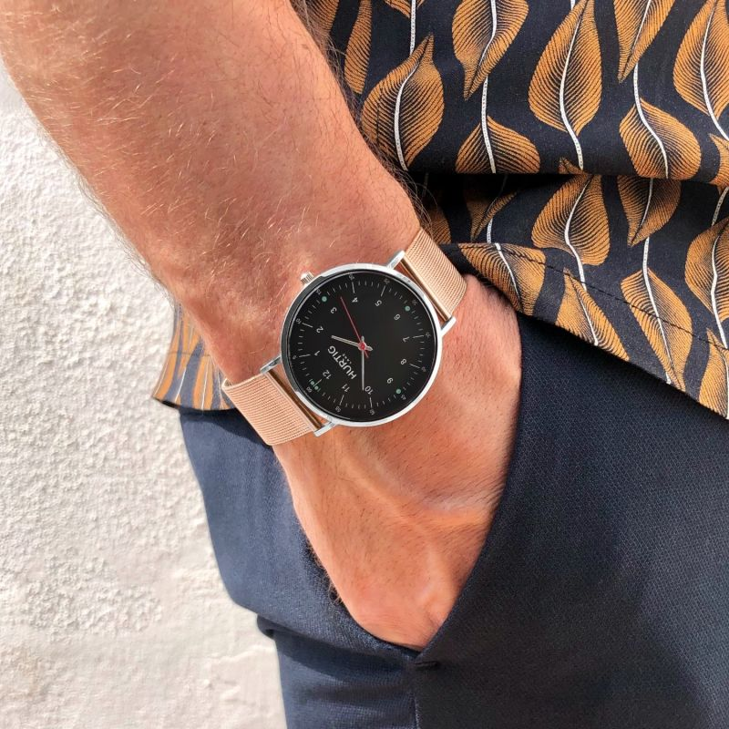 Moderno Stainless Steel Watch Silver, Black & Rose Gold image