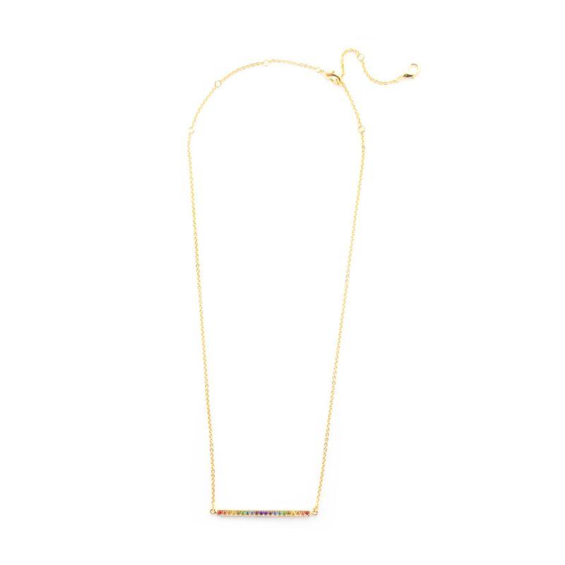 Rhinestone Bar Pendant Necklace - Bright Gold Prism image