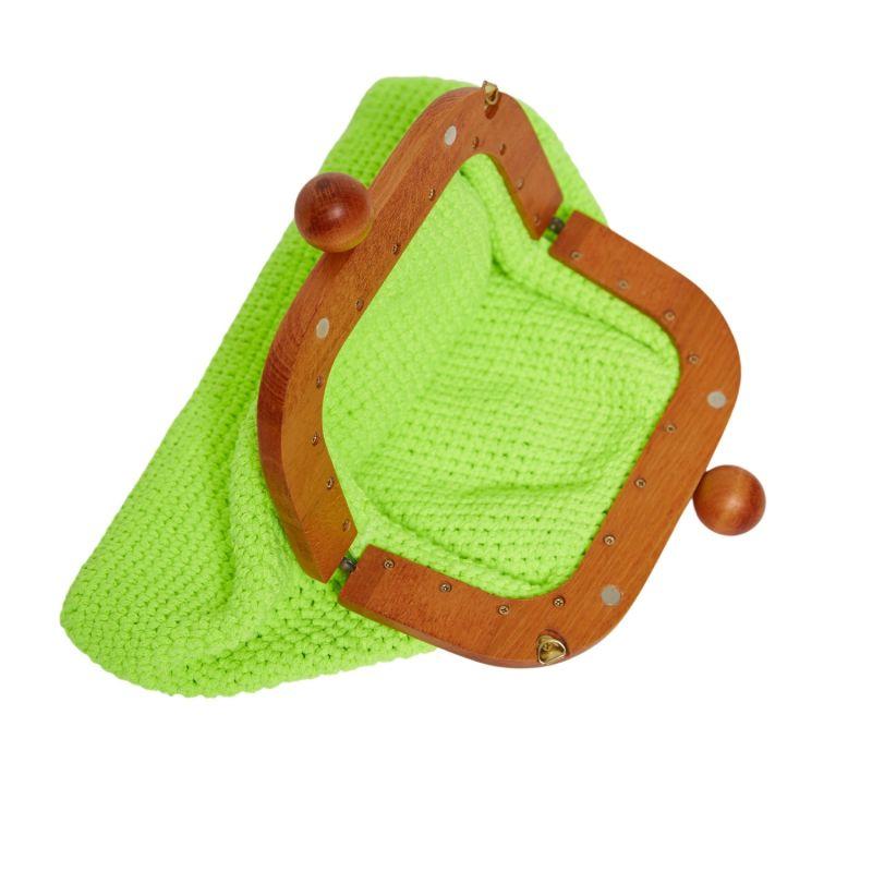 Newport Neon Hand Crocheted Clutch In Green image