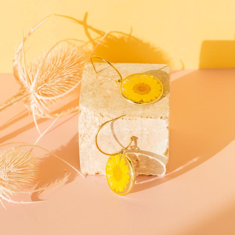 Skinny Hoop & Yellow Daisy - 1 inch image
