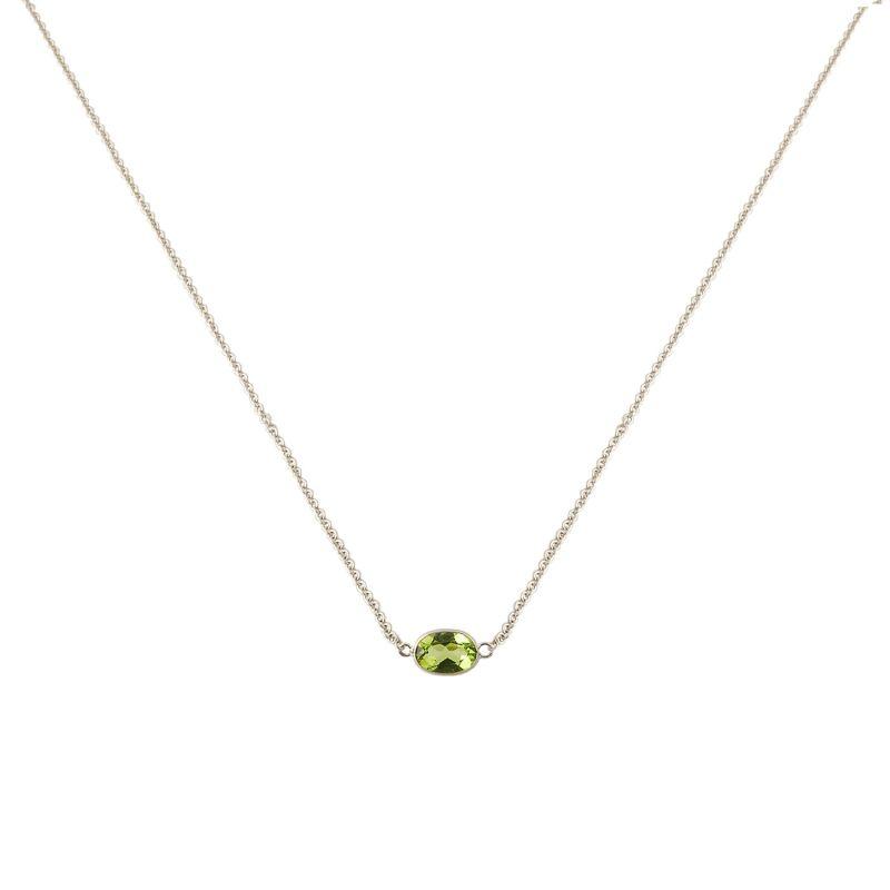 Single Stone Bezel Set Peridot Necklace In 14 Karat White Gold image
