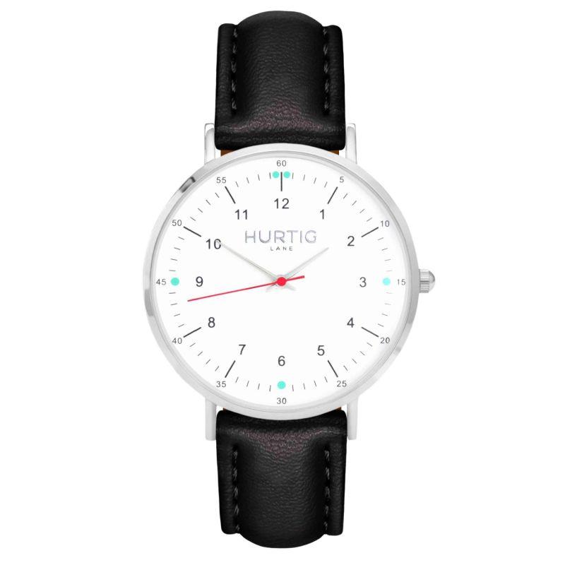 Moderno Vegan Leather Watch Silver, White & Black image