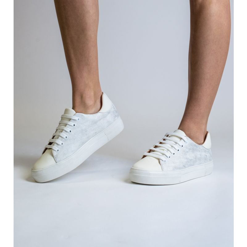 Lucy White Vegan Leather Lace Trainer image