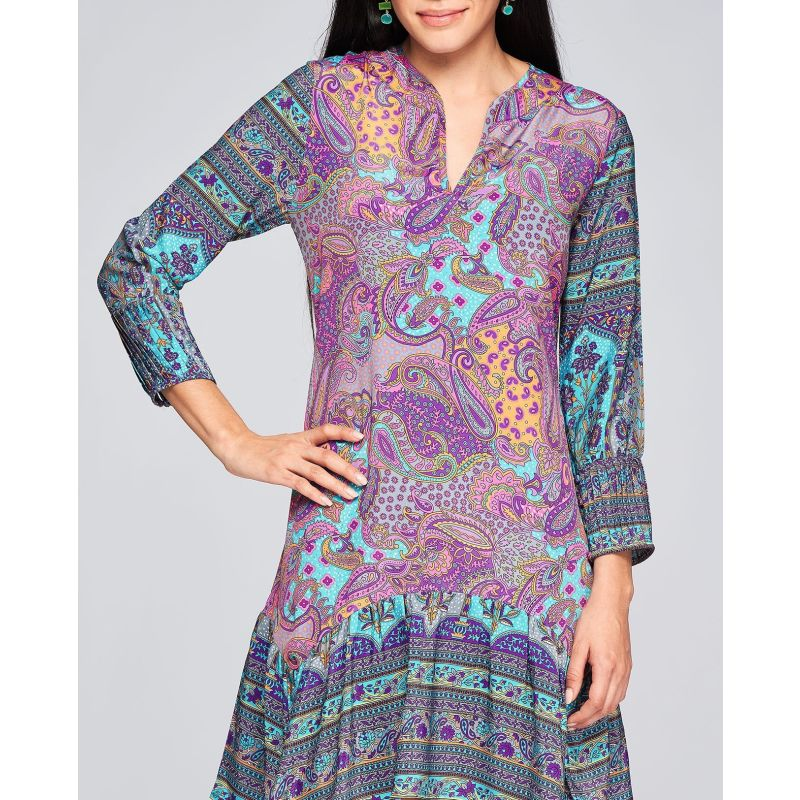 Asymmetrical Short Print Dress - Ruffles image