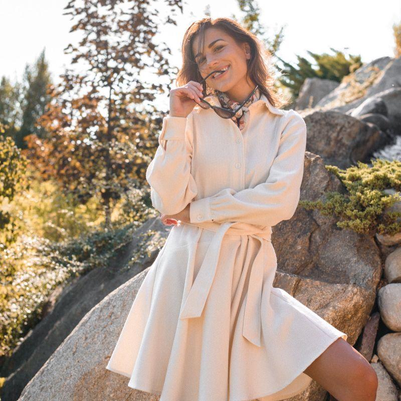 Linda Long Sleeve Shirt Dress In Off-White image
