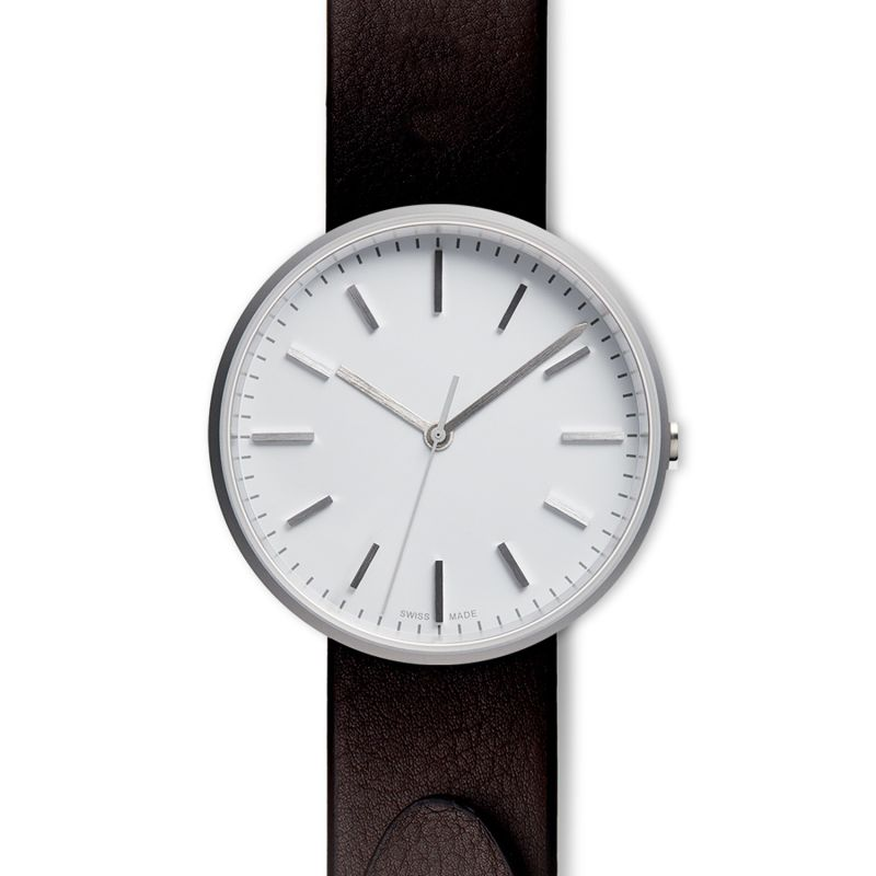 Men's M37 Precidrive Three-Hand Watch In Brushed Steel With Nappa Brown Leather Strap image