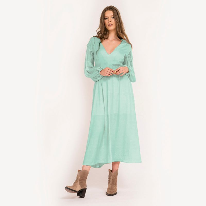 Two-Sided Dress With Smocked Puffed Sleeves - Mint image