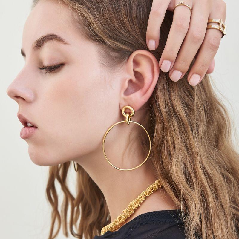 Revolution Hoop Earrings In Yellow Gold image