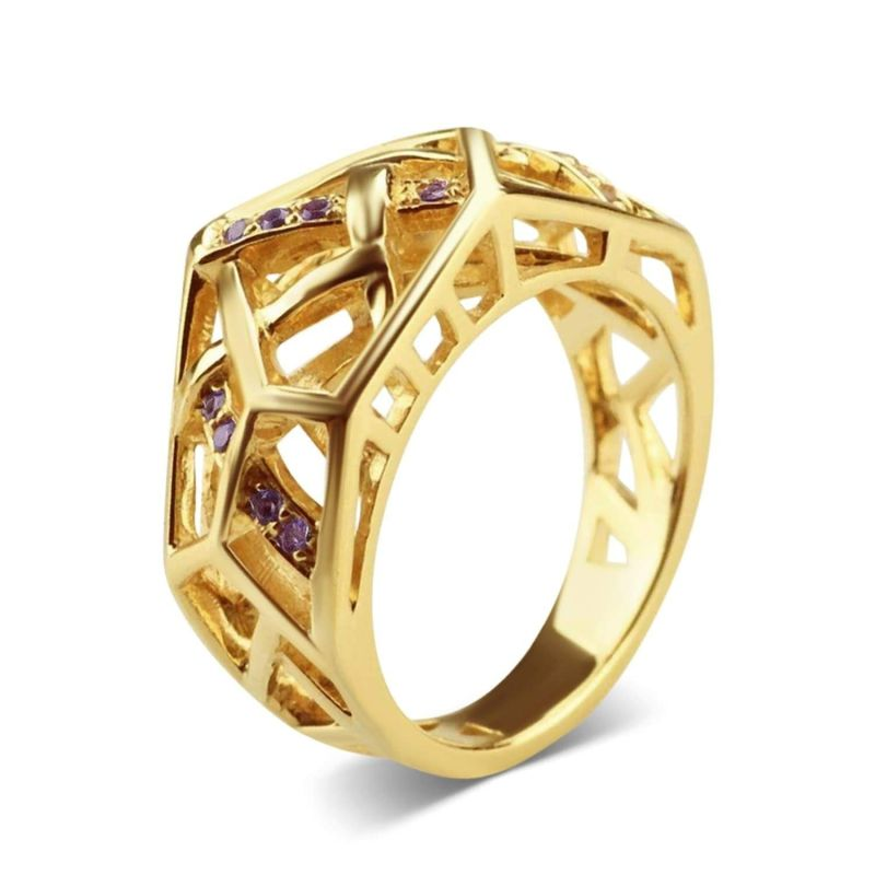 Gold Plated Crossover Amethyst Ring image