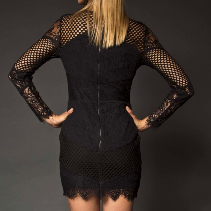 Sadie Noir Lace Mini Dress image