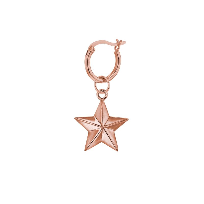 18Kt Rose Gold Plated Mini Star Charm On Rose Gold Hoop image