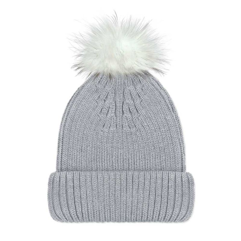 Women's Pure Merino Ribbed Beanie With Interchangeable White Faux Fur Pompom Grey image