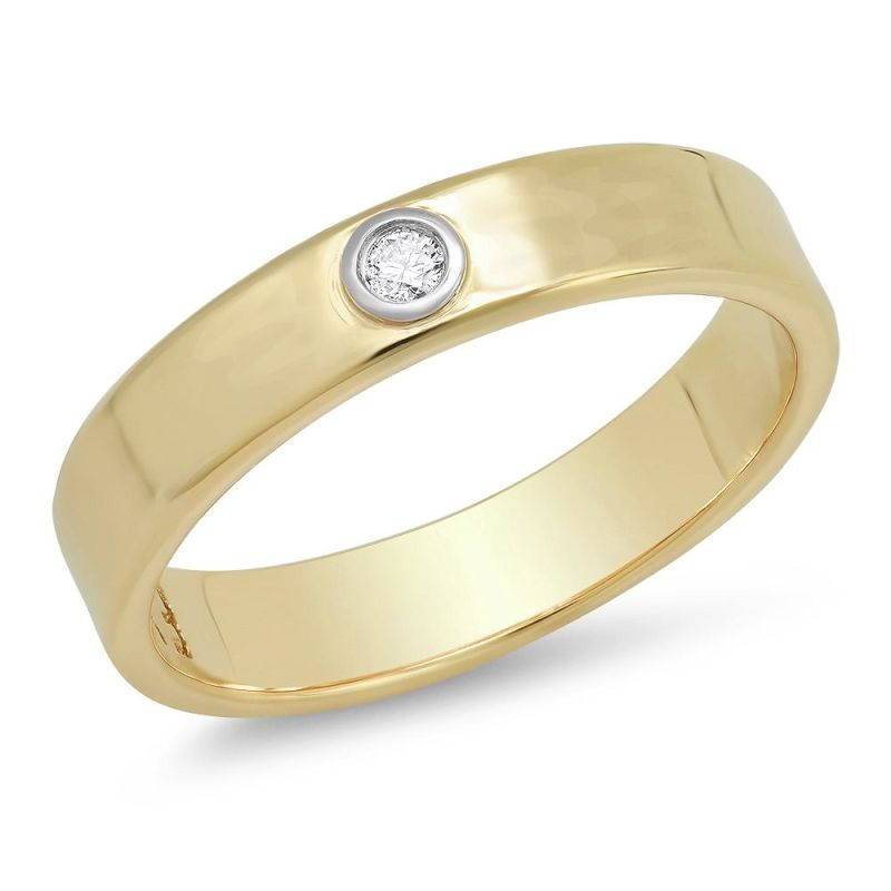 -Liquid Metal- 14K Yellow and White Gold Narrow Hammered Band With Diamond image