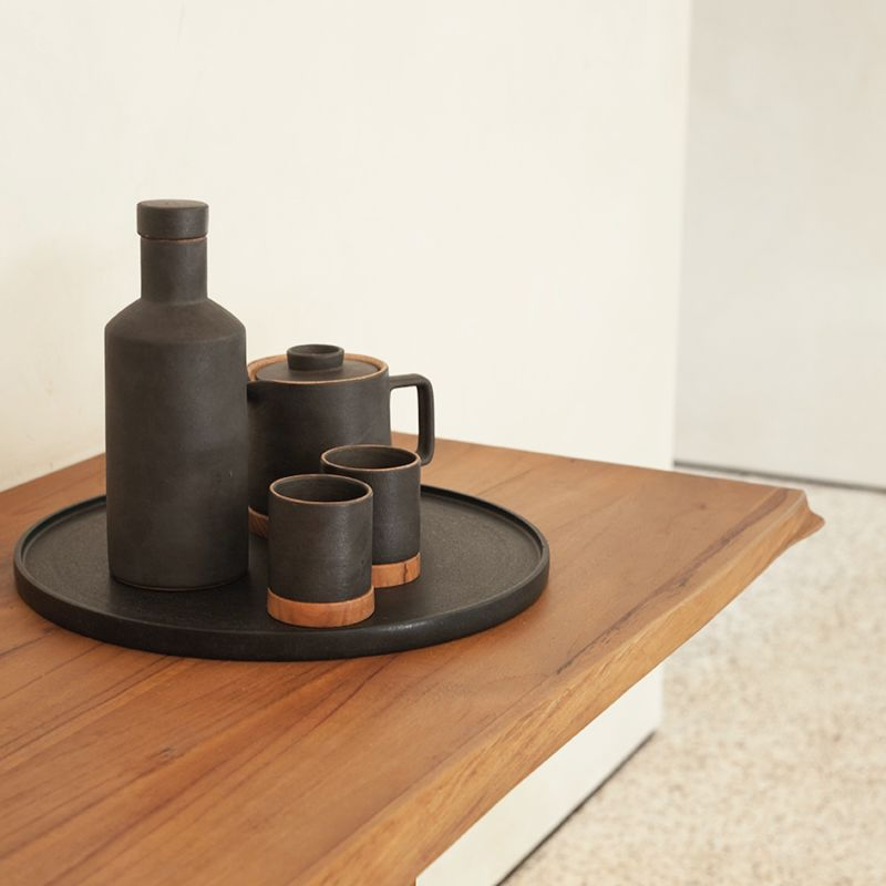 Dode Small Ceramic Tea & Espresso Cup Set - Dark Ash image