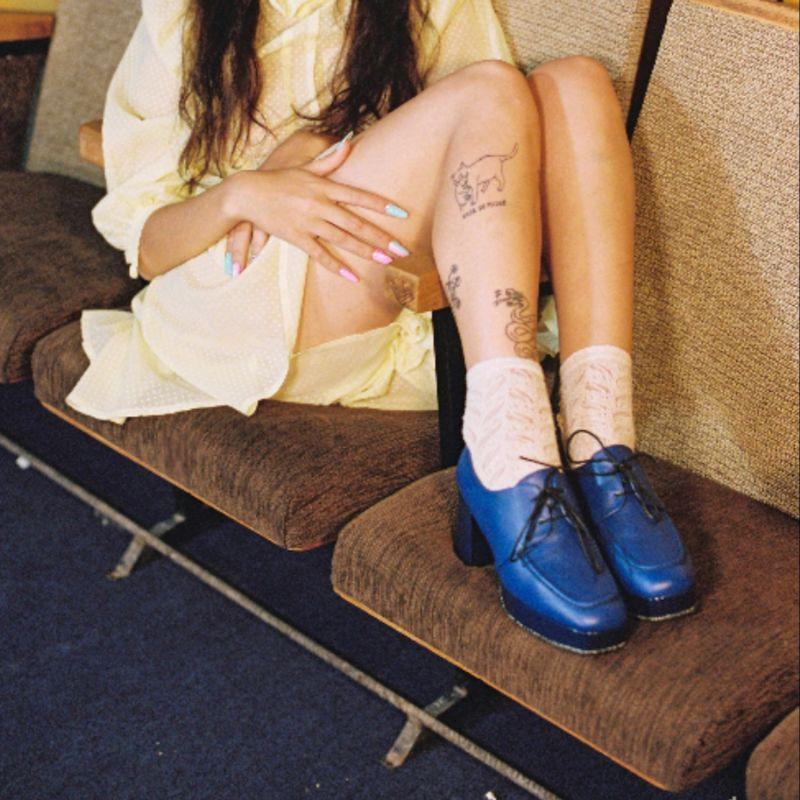 Bianca - Blue Leather Platform Bluchers image