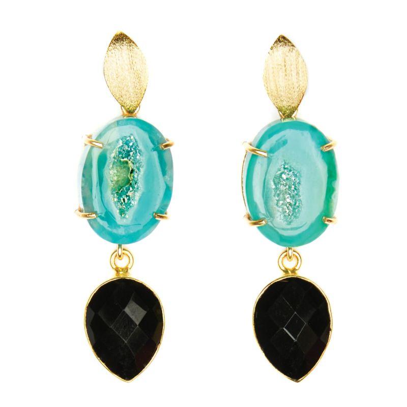 Green Agate & Black Onyx Cocktail Earrings image