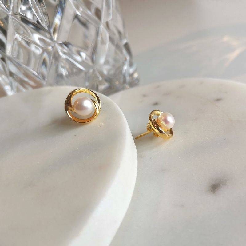 Bold Gold Plated Pearl Earrings image