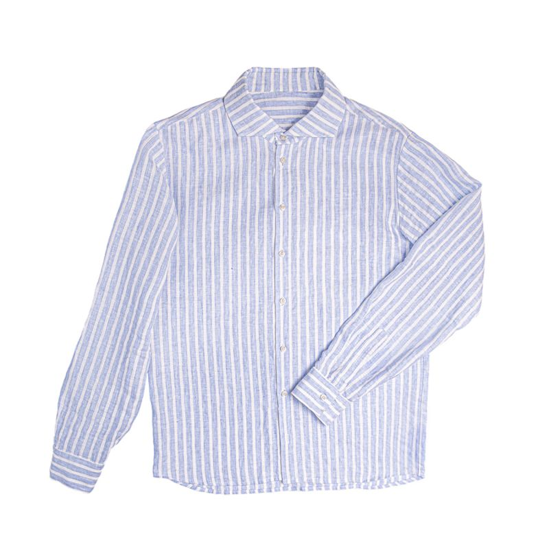 Regular Fit Striped Linen Shirt For Man With Long Sleeves image