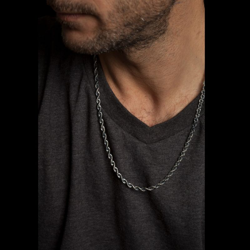 Mens Silver Rope Chain Necklace image