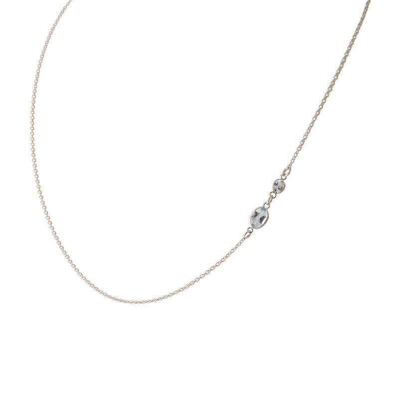 Two Stone Bezel Set Blue Topaz Necklace In 14 Karat White Gold image