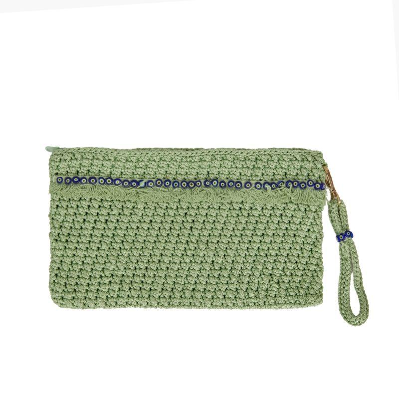 Corfu Crochet Clutch in Mint image