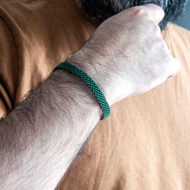 Bronze & Green Rope Bracelet For Men - Bronze Connection image