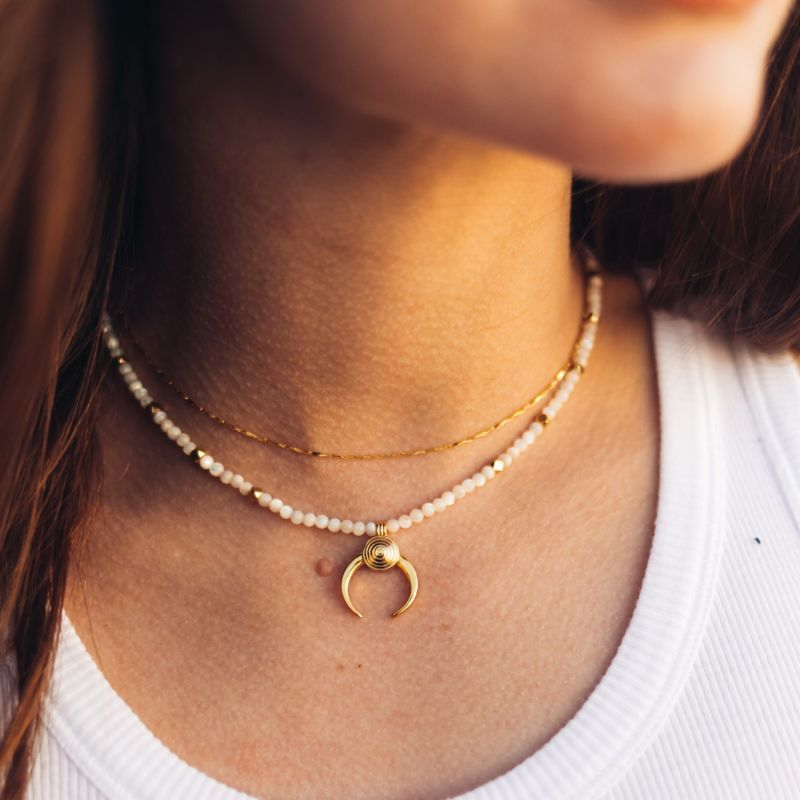 Mother Of Pearl Moon Necklace image