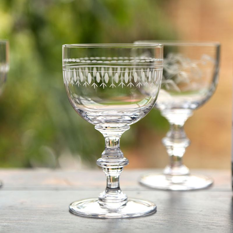 Four Hand Engraved Crystal Wine Goblets With Ovals Design image