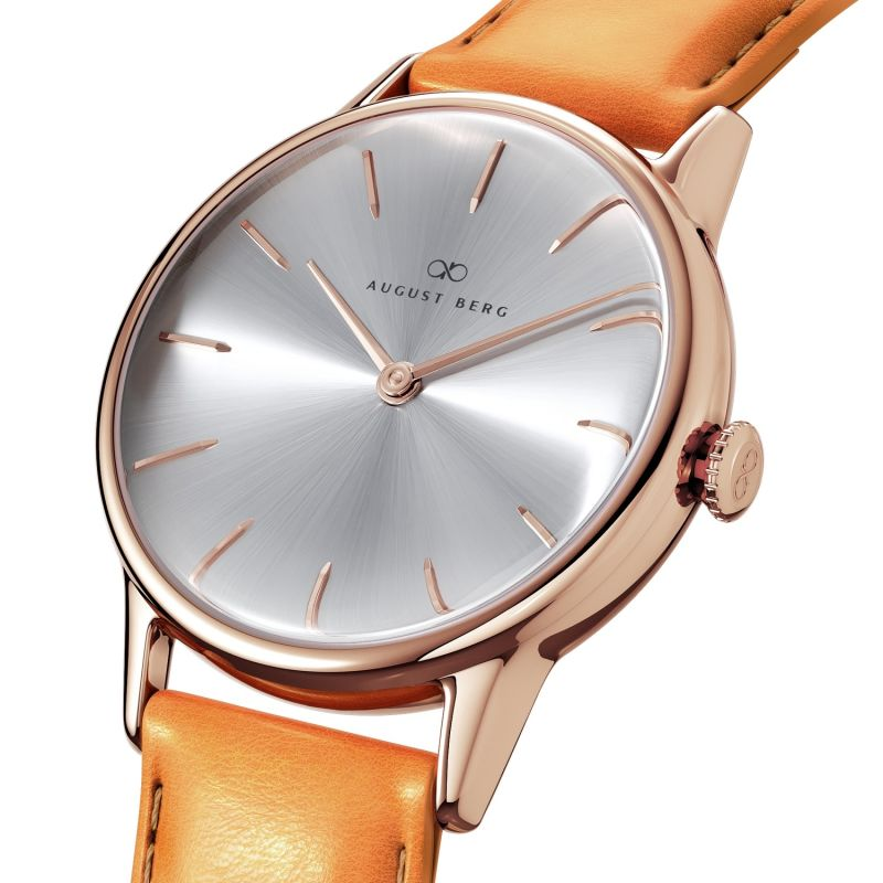 August Berg Serenity Rosegold Classic Simply - Light Brown Leather 32mm image