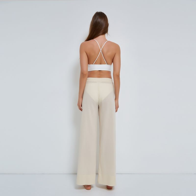 Pull-on Trousers Crinkle Organic Cotton in Beige image
