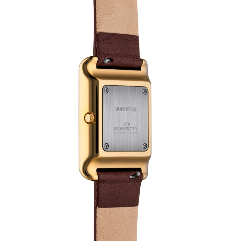 Monofore M01 Gold 41mm - Brown Leather image