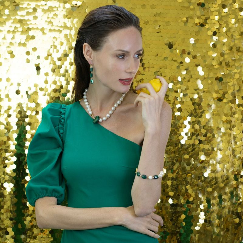 Malachite & Baroque With Edison Pearls Bracelet image