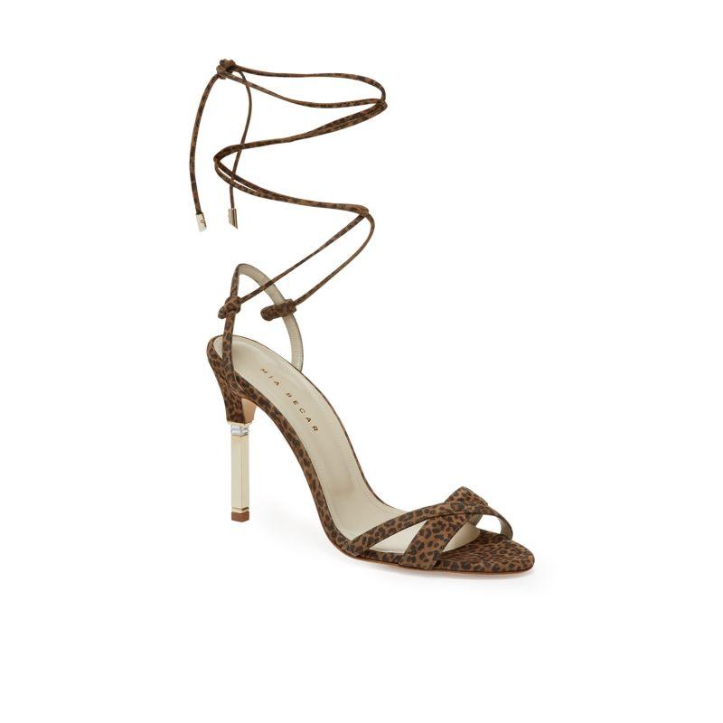 Francesca Baguette Lace-Up Sandal In Animal Print image