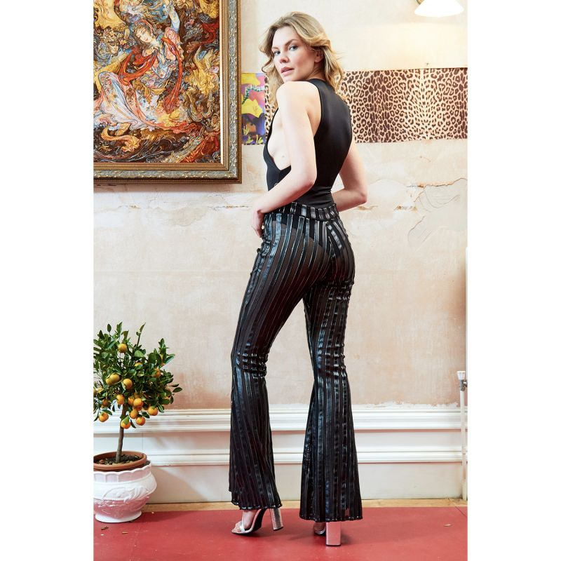 Sly Metalic High Waist Stripe Flared Trousers image