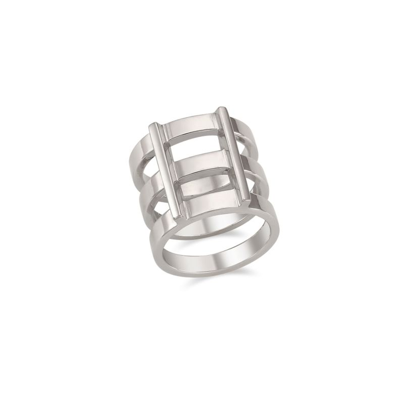 Rascas R2 Triple Stacked Chunky Moderno Unisex Ring In White Gold 925 Silver image