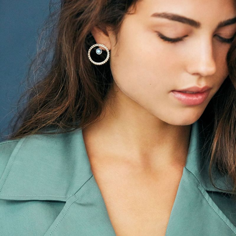Circle Pearled Earrings & Stone Ear Jacket- Silver & Rainbow Moonstone image