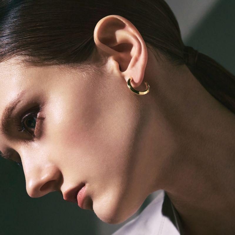 Gaudi Silver Basic Hoop Ring Earrings Yellow Gold image