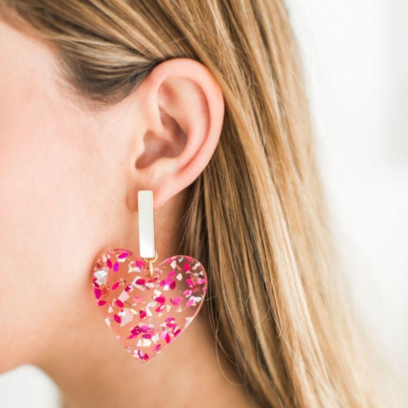 Pink Confetti Heart Earrings image