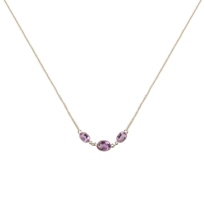 Three Stone Bezel Set Amethyst Necklace In 14K White Gold image