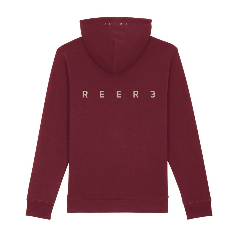 Designer Hoodie In Burgundy With Logo Print Made Of Organic Cotton image